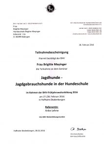 BHV Zertifikat Jagdhunde Brigitte Mayinger